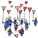 Аватар Нарисованные человечки с шариками в форме сердечек в руках
