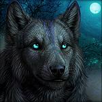 Аватар Зеленоглазый волк на фоне веток дерева и луны. Художник DarkIceWolf