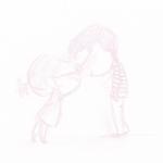 99px.ru аватар Белый фон, на котором светло-розовой краской нарисована влюбленная пара: девушка с зонтом за спиной и парень в полосатой кофте