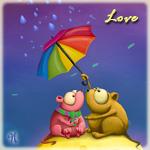 Аватар Два существа, похожие на мышей, с большими круглыми глазами сидят на куске сыра, в руках одно существо держит зонт, прикрывая от дождя свою вторую половинку (Love / Любовь)
