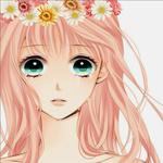 Аватар Плачущая Вокалоид Лука Мегурине / Vocaloid Luka Megurine с венком из ромашек и хризантем на голове