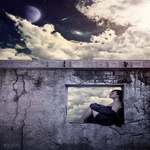 Аватар Девушка сидит в оконном проеме заброшенного здания на фоне неба и луны
