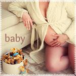 Аватар Беременная девушка сидит на полу возле дивана, рядом стоит коробка с игрушками - кроликами (baby / малыш)