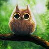Аватар Нарисованный совенок с большими глазами сидит на ветке дерева