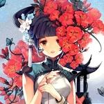 Аватар Анимешная девушка стоит среди красных цветов и бабочек