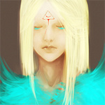 Аватар Девушка - птица в голубых перьях и шрамом в виде треугольника на лбу, художница Наталья (MrNat)