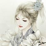 Аватар Девушка с закрытыми глазами и в белых цветах