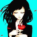 Аватар Девушка с закрытыми глазами держит розу в руках, а вокруг летают лепестки от этой розы