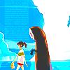 Аватар Chihiro / Тихиро и Kaonashi / Безликий из аниме Spirited away / Унесенные призраками идут по рельсам, расположенным в воде, автор MissIfa