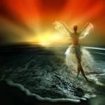 Аватар Девушка стоит на воде, встречает закат, подняв руки в виде крыльев из воды, юбка их водных капель, фотохудожник Игорь Зенин
