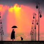 Аватар Силуэт девушки с зонтом и пса, идущих по дороге, вдоль фонарей, фотохудожник Игорь Зенин