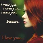 Аватар Рыжеволосая девушка в профиль на зеленом фоне с фразами (I miss you, I need you, I want you, because I love you / Я скучаю по тебе, Я нуждаюсь в тебе и я хочу тебя, потому что люблю тебя)