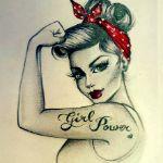Аватар Девушка в стиле пин-ап с красной повязкой на голове (girl power / женская сила)