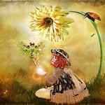 Аватар Девочка сидит под цветком и над рукой у нее фея, работа Skin Staheli