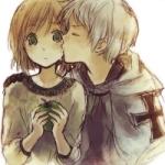 Аватар Мальчик целует девочку, которая держит яблоко
