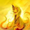 Аватар Золотой колдун с щупальцами на фоне восходящего солнца и неба