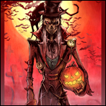 Аватар Зомби с кошкой на плече держит в руке тыкву - символ Хэллоуина / Halloween