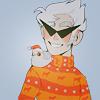Аватар Dirk Strider / Дирк Страйдер из веб-комикса Хоумстак / Homestuck в своих острых темных очках и оранжевом Рождественском свитере, улыбаясь, смотрит на птичку в Новогодней шапке, сидящую у него на плече
