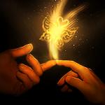 Аватар Мужской и женский пальцы соприкасаются, появляется искра с бабочкой и сердечком, художница ChristabelleLAmort