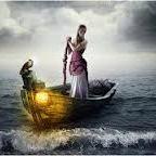 Аватар Девушка с собакой плывут в лодке
