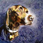 Аватар Мордочка пса с ошейником на абстрактном фоне