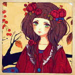 Аватар Девушка с красными цветами в волосах