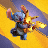 Аватар Стич / Stitch из мультфильма Лило и Стич / Lilo & Stitch обнимает Пикачу / Pikachu из аниме Покемон / Pokemon на абстрактном фоне