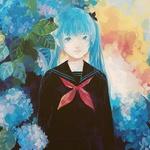 Аватар Девушка с голубыми волосами и такими же глазами в школьной форме стоит среди голубых цветов