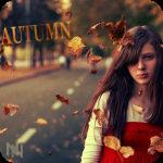 Аватар Девушка на фоне дороги среди падающих желтых листьев. (Autumn / Осень)
