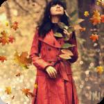 Аватар Девушка в красном плаще в осеннем лесу среди падающих листьев