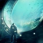 Аватар Человек в скафандре и с кейсом смотрит через огромный иллюминатор на подводный мир