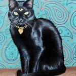 Аватар Черный кот с медальоном и третьим глазом на лбу