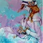 Аватар Девушка в шляпе и с ромашкой в руке, художник Karl Bang / Карл Бэнг