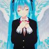 Аватар Vocaloid Hatsune Miku / Вокалоид Хацуне Мику с ангельскими крыльями за спиной