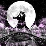 Аватар Девушка с мужчиной танцуют на мосту на фоне полной луны и звездного неба