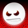 Аватар Злой белый смайлик на красном фоне, хмурится и скалится