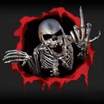 Аватар Металлический скелет высовывается из окровавленного пролома и показывает фак