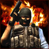 Аватар Террорист Phoenix в маске и бронежилете из Counter Strike Source стоит с пистолетом в руке на фоне огня
