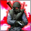 Аватар Спецназовец SAS в шлеме и противогазе с красными стеклами из игры Counter Strike Source перезаряжает пистолет на бело-красном фоне