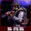 Аватар Спецназовец SAS из игры Counter Strike Source, в шлеме, противогазе, и с парой светошумовых гранат, целится из автомата Калашникова