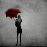 Аватар Черный силуэт девушки с красным зонтом на сером фоне под дождем