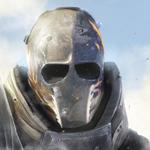 Аватар Главный герой Эллиот / Elliot из игры Армия из двоих / Army of Two на фоне облачного неба, в металлической защитной маске с аэрографией в виде огня