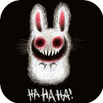 Аватар Белый кролик с устрашающей улыбкой и красными дырами вместо глаз, нарисованный на черном фоне (HA HA HA! / Ха ха ха!)