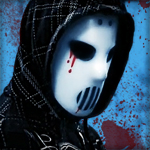 Аватар Мужчина в черном капюшоне и белой хоккейной маске, с капельками крови возле глаза и рта, на голубом окровавленном фоне