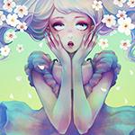 Аватар Удивленная девушка в платье, с цветами сакуры в волосах, обхватила лицо руками, art by Zihling