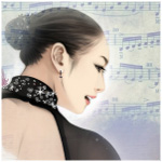 Аватар Фигуристка Kim Yuna / Ким Ён А / Юна Ким на фоне нотного листа
