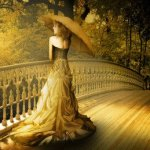 Аватар Девушка с зонтиком стоит на мосту