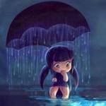 Аватар Девочка сидит под зонтиком, из которого идет дождь, автор DestinyBlue
