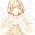 Аватар Девушка с длинными светлыми волосами, в бежевом пальто, прикрыв глаза, мило улыбается и держится рукой за край своего теплого вязанного шарфа, обмотанного вокруг шеи
