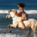 Аватар Девушка на белой лошади скачет вдоль берега моря